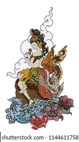 Thai art traditional tattoo design.Beautiful Kinnaree is thai lady with wing and water wave on cloud and moon background.Thai fairy tail with flower sitdown on rock and ocean tattoo.