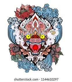 Thai art traditional tattoo design.Hanuman Monkey face design with wave and peony flower on cloud background.Thai Demon mask and Line Thai style.Hand drawn and coloring book Monkey mask.