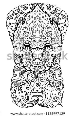 Thai Art Traditional Tattoo Design Hanuman Monkey Stock Vector