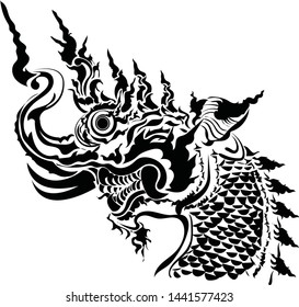Thai art traditional tattoo design.Naga is of snake and animal of budhism.Thai Dragon isolate vector, ne Thai is Thailand Style and Tattoo design.