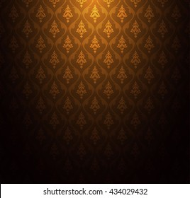 Thai asia pattern texture gold background vector