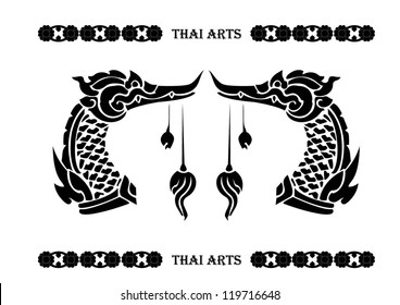 Thai and Asian art elements, Bird and Swan, Vector