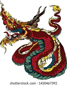 Thai asian dragon isolate on white background.Coloring book king snake and Thai style tattoo.