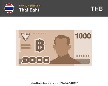 Thai baht 1000 banknote. Paper money of Thailand. One thousand THB. Flat icon style. Currency symbol. Vector illustration.