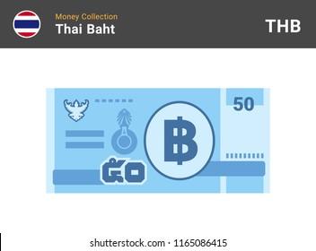 Thai baht banknone. Paper money 50 THB. Flat style. Vector illustration.