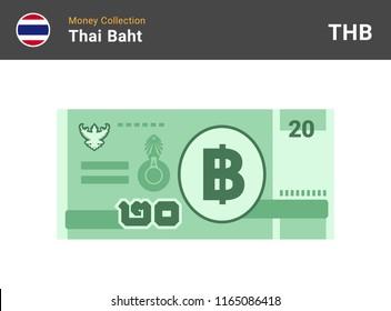 Thai baht banknone. Paper money 20 THB. Flat style. Vector illustration.
