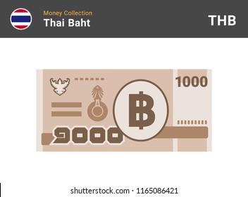 Thai baht banknone. Paper money 1000 THB. Flat style. Vector illustration.