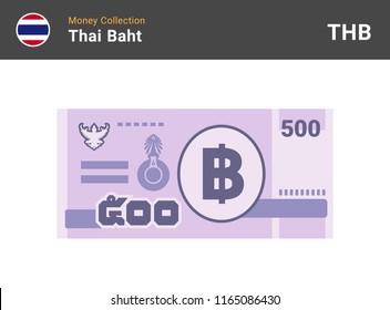 Thai baht banknone. Paper money 500 THB. Flat style. Vector illustration.