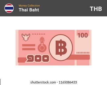 Thai baht banknone. Paper money 100 THB. Flat style. Vector illustration.