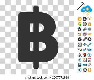 Thai Baht icon with bonus bitcoin mining and blockchain icons. Vector illustration style is flat iconic symbols. Designed for cryptocurrency software.
