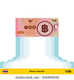 Thai baht rising as a rocket. Increase of Thai baht on international financial markets. Thai baht banknote.