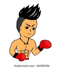Thai boxing cartoon vector illustrtor