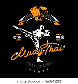 thai boxing club Vintage emblem, logo, sign, vector illustration