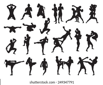 Thai Boxing fight traditional dance before fight, Vector illustration