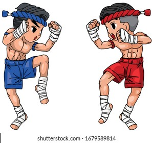 Thai boxing are practicing fighting(vector).