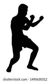 Thai boxing silhouette vector on white background