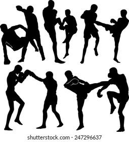 Thai boxing silhouettes