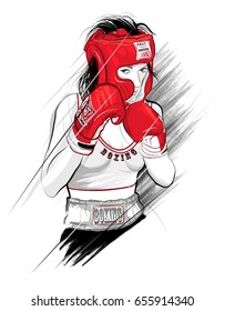 Thai boxing, woman fighting - vector illustration