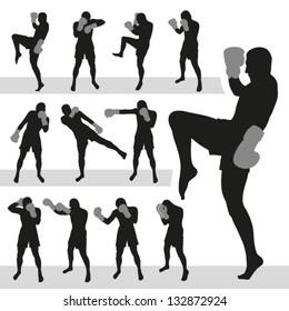 Thai boxing.Muay Thai.Vector silhouettes. EPS-10 (non transparent elements, non gradient)