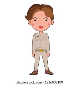 Thai boy civil servant wears a khaki uniform. Vector illustration