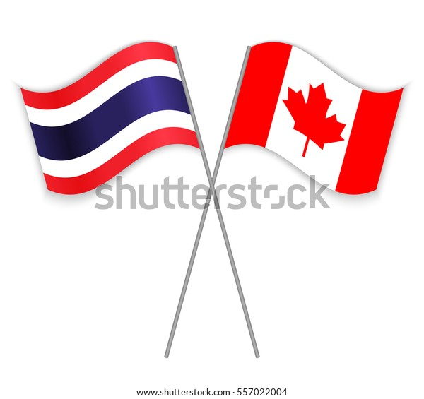 Thai Canadian Crossed Flags Thailand Combined Stock Vector