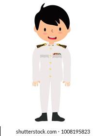 Thai civil servant wears the white form dress.