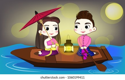 Thai couple has so sweet moment on the boat under full moon night
