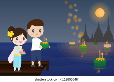 Thai couple traditional dress floating flowers loy kratong thailand festival full super moon background night and temple scene celebration culture with copy space eps10 vector illustration