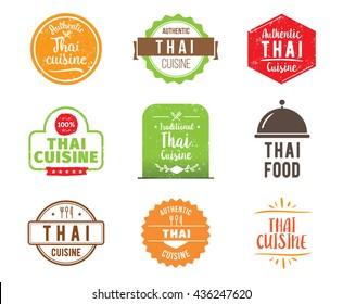 Thai cuisine, authentic traditional Thai food typographic design set. Vector logo, label, tag or badge for restaurant and menu. Thai cuisine isolated.
