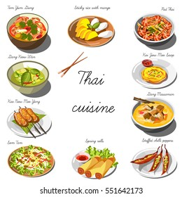 Thai cuisine set. Collection of food dishes for the decoration of restaurants, cafes, menus. Vector Illustration. Isolated on white.