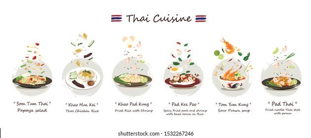 Thai cuisine set.Set of Delicious Thai food vector isolated on white background.Thai cuisine vector Somtum,Khao-mun-kai, Khaopad , Pad-kra-paw , Tom-yum-kung , Pad-thai.Thai food vector.