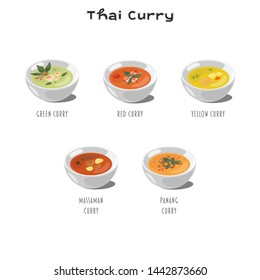 Thai Curry set vector graphics on a white background