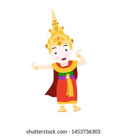 Thai dancer is dancing on a white background.Thailand travel concept.Vector Illustration.