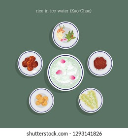 Thai dessert rice in ice water (Kao-Chae)