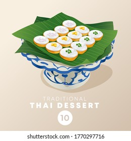 Thai dessert in traditional Thai ceramic ware : Vector Illustration