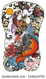 Thai Dragon isolate vector and tattoo design.Thai buddhism and Animal of Himmapan forest in smoke and cloud vector.Thai beta fish with peony flower coloring book tattoo background.