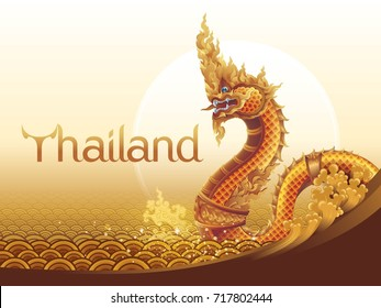 Thai Dragon or Serpent King or King of Naga Statue In Thai, Thai art graphic vector. Thailand Water Gold Background