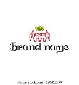 Thai Elephant Tea Brand Logo Template