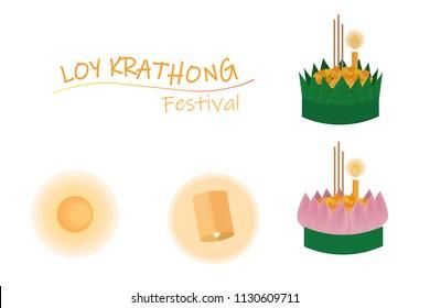 Thai festival floating flowers Loy Krathong elements on white background isolated eps10 vector illustration