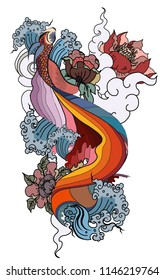 Thai fighting fish tattoo design.Thai buddhism and Animal of Himmapan forest in smoke and cloud vector.Thai beta fish with peony flower coloring book tattoo background.