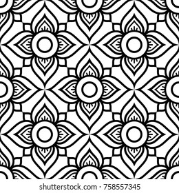 Thai flowers seamless vector pattern, black floral repetitive design inspired by art from from Thailand Floral Thai wallpaper, pretty tiled Asian background on white