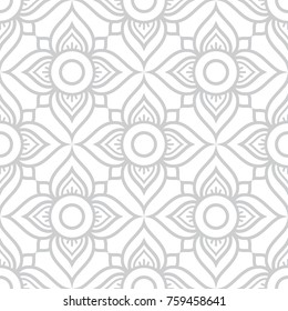 Thai flowers seamless vector pattern, grey floral repetitive design inspired by art from from Thailand Floral Thai wallpaper, tiled Asian background on white