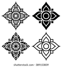 Thai folk art pattern - flower shape