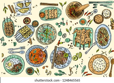 Thai food background, Hand drawn popular Thai food such as Tom Yum Soup, Pad Thai Noodles, Chicken Satay, Papaya Salad etc.