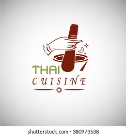 Thai food concept. Thai cuisine logo design. hand draw in Thai style with  mortar for cook Thai food - vector illustration