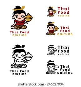Thai food logo concept Vector