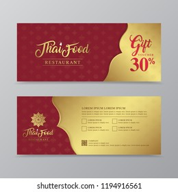 thai food and thai restaurant gift voucher design template for printing, flyers, poster, web, banner, brochure and card vector illustration