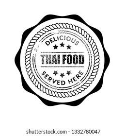 Thai food vintage label stamp.delicious,served here.