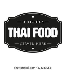Thai food vintage sign stamp vector