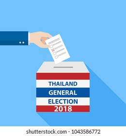 Thai General Election vote 2018, Hand Putting Voting Paper in the Ballot Box, object flat style on blue background, cartoon vector Illustration.